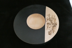 Ash Bowl with  Black Ebonised  Panel with  a Pyrographic Details